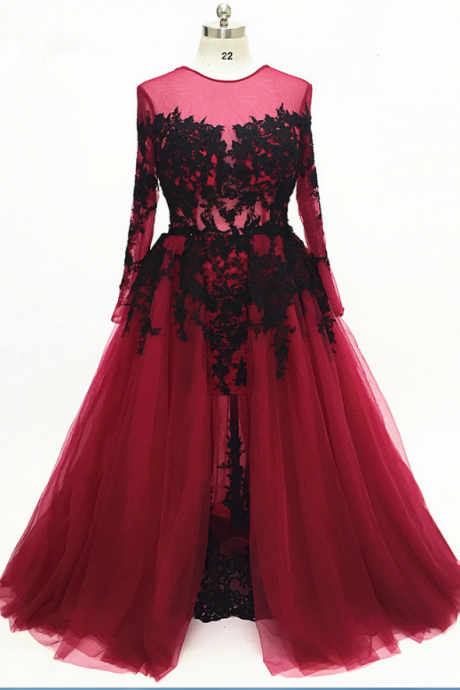 Burgundy long-sleeved long evening dress lace the dress more formal party dress,Charming Prom Dress, Sexy Prom Dresses,Lace Evening Dress