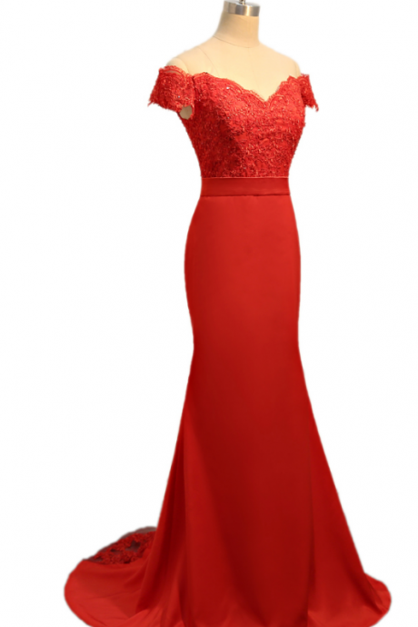 red evening dress mermaid v leader suit, lace ruffle gown, women's evening gown ball gown,Charming Prom Dress, Sexy Prom Dresses,Lace Evening Dress