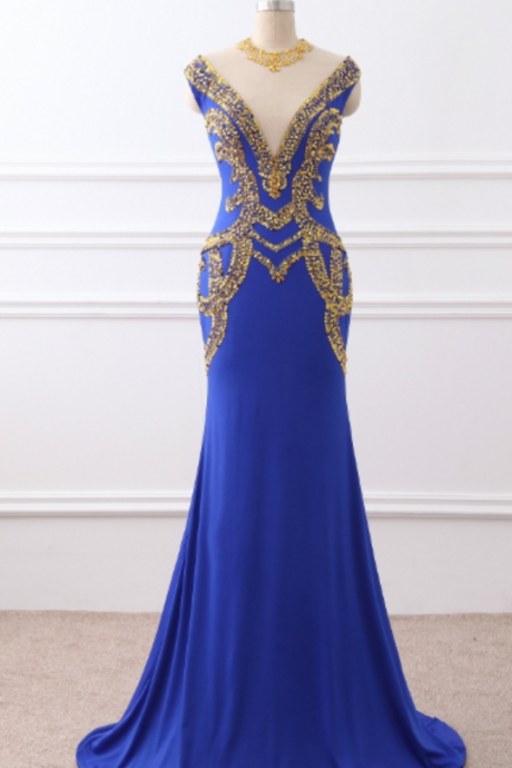 night of the mermaid Prom Dress, the royal blue jersey Prom Dresses, with the golden beaded hallway, the evening gown,Sexy Prom Dresses,Evening Dress