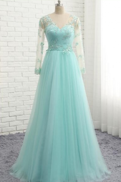 Peppermint green evening dress, long-sleeved tulle Prom Dress, lace gown with lace Prom Dress,Sexy Prom Dresses,Lace Evening Dress