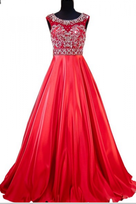long night evening dress, the real sample scoop prom dresses, heavy overhead beads prom dress, red women's formal evening dress