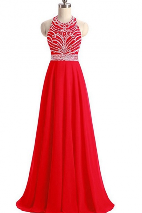 Red Chiffon prom dresses ,Charming Prom Dress, Sexy Long Prom Dresses,Lace Evening Dress