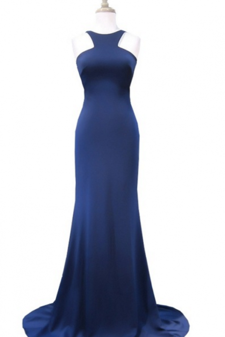 Simple evening dress, mermaid neckline sleeveless navy blue silk dress,Sexy Prom Dresses,Long Evening Dress