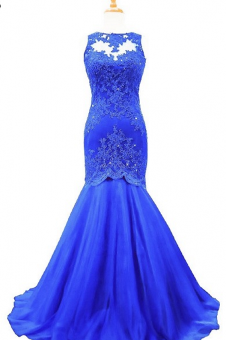 new mermaid has a royal blue dress with lace, Sexy Prom Dresses,Lace Evening Dress