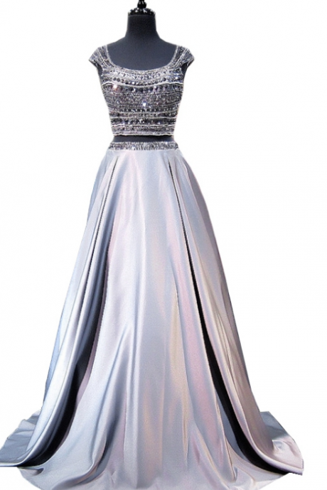 shiny a-line cap sleeves Prom Dress,beaded crystal floor-length gray Prom Dresses, no-back ball gown,Charming Prom Dress, Sexy Prom Dresses,Evening Dress