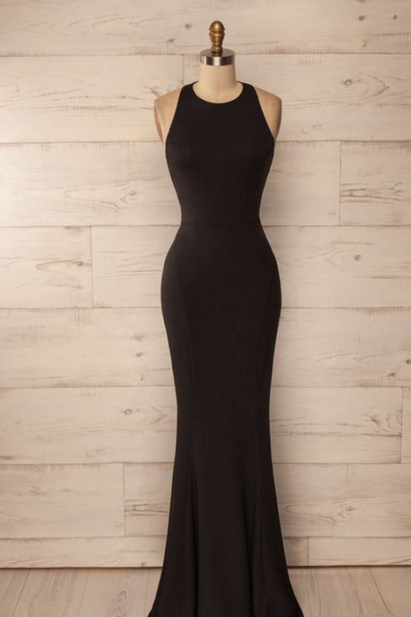 Halter Long Black Prom Dress,Open Back evening dresses,Sexy Prom Dresses,Evening Dress