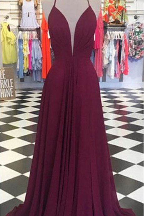Plunging Neck Long Prom Dress with Open Back,Charming Prom Dress, Sexy Prom Dresses,Evening Dress