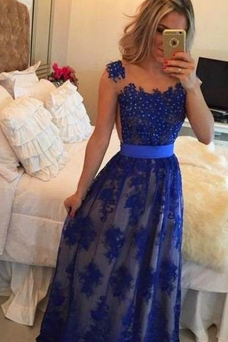 Backless Prom Dresses,Royal Blue Prom Dress,Backless Formal Gown,Open Back Prom Dresses,Evening Dress