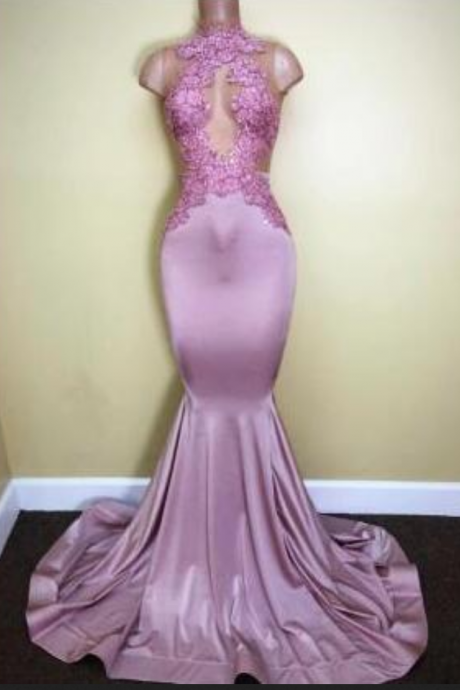 Appliques Mermaid Sleeveless Sweep-Train Newest High-Neck Prom Dress,Floor Length Prom Dresses, Cheap Formal Dresses, Cheap Evening Dresses,Sexy Prom Dresses,Evening Dress