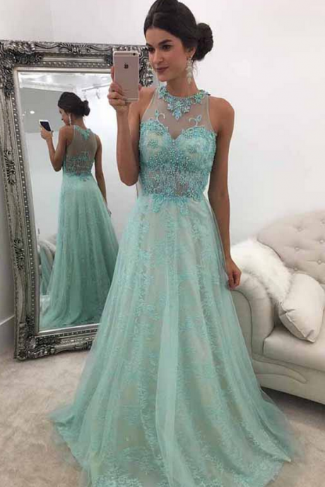 Mint Green Prom Dress,A-Line Round Neck Prom Dresses,Sweep Train Mint Green Prom Dress with Beading Lace Prom Dress,Cheap Evening Dresses,Sexy Prom Dresses,Evening Dress