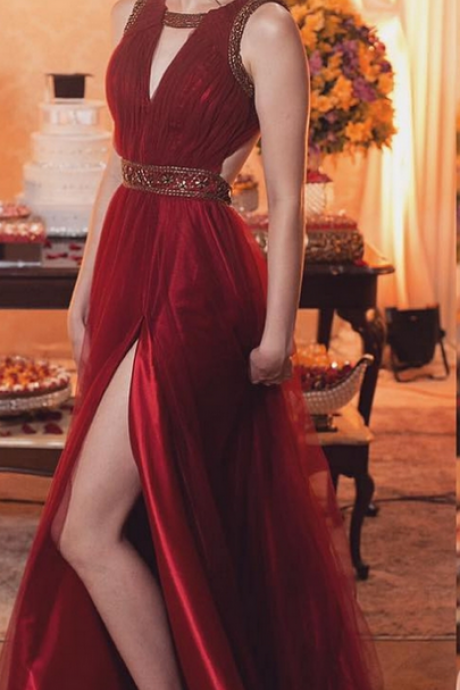 Beaded Burgundy Tulle Prom Dresses,Sexy Party Dresses, Long Open Back Party Dresses ,Women Evening Dresses ,A-line Formal Gowns, High Slit Pageant Dresses,Cheap Formal Dresses, Cheap Evening Dresses,Sexy Prom Dresses,Evening Dress