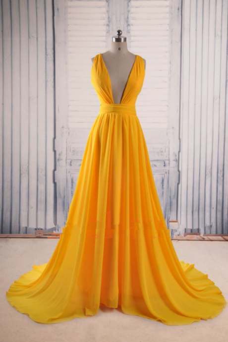 Pretty Handmade Yellow Sexy Chiffon Cross Back Prom Dresses , Yellow Prom Gown, Prom Gown, Prom Dresses,Cheap Formal Dresses, Cheap Evening Dresses,Sexy Prom Dresses,Evening Dress