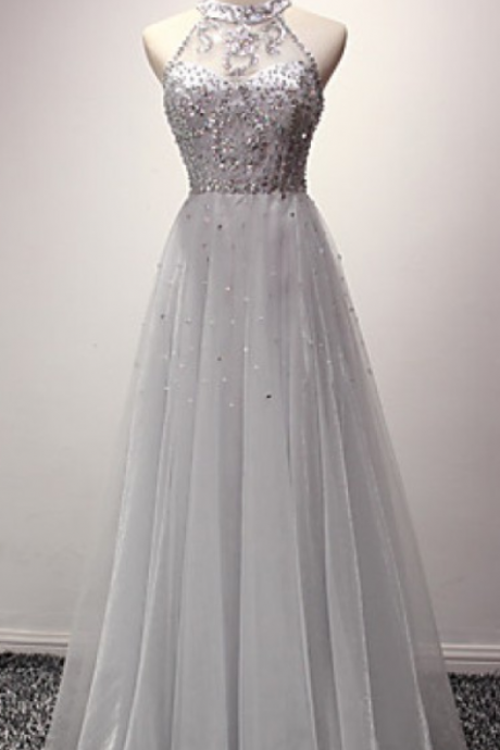 A-line Halter Sequins Tulle Floor Length Prom Dresses Evening Dresses ,A Line Floor Length Prom Dresses, Cheap Formal Dresses, Cheap Evening Dresses,Sexy Prom Dresses,Evening Dress