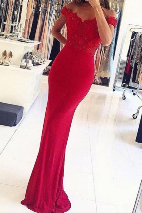 Mermaid Off-the-Shouler Formal Dress,Floor-Length Red Stretch Satin Prom Dress with Appliques Beading,Cheap Formal Dresses, Cheap Evening Dresses,Sexy Prom Dresses,Evening Dress