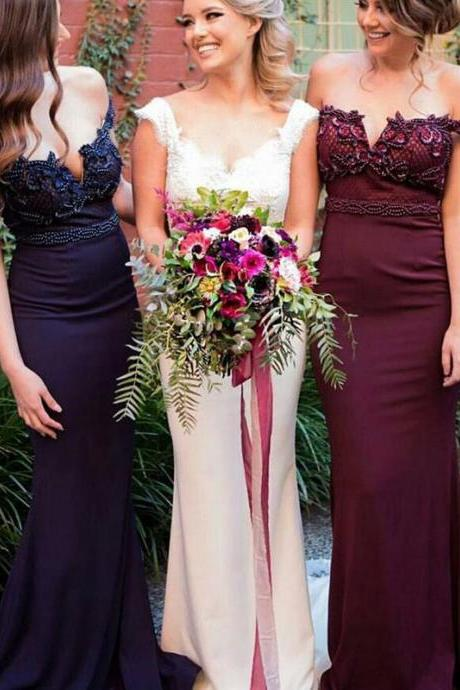 Fabulous Mermaid Bridesmaid Dresses,Off Shoulder Sweep Train Maroon Bridesmaid Dress,Navy Long Bridesmaid Dress with Beading,Cheap Formal Dresses, Cheap Evening Dresses,Sexy Prom Dresses,Evening Dress