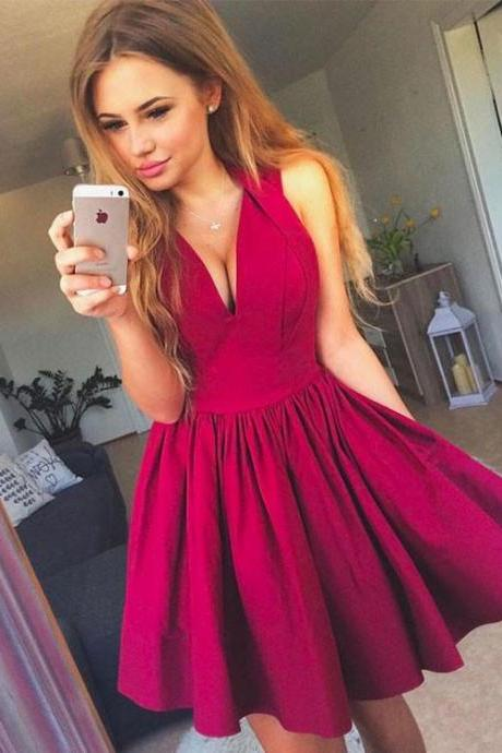 A-Line V-Neck Homecoming Dresses,Sleeveless Short Mini Homecoming Dress,Cocktail Party Dress