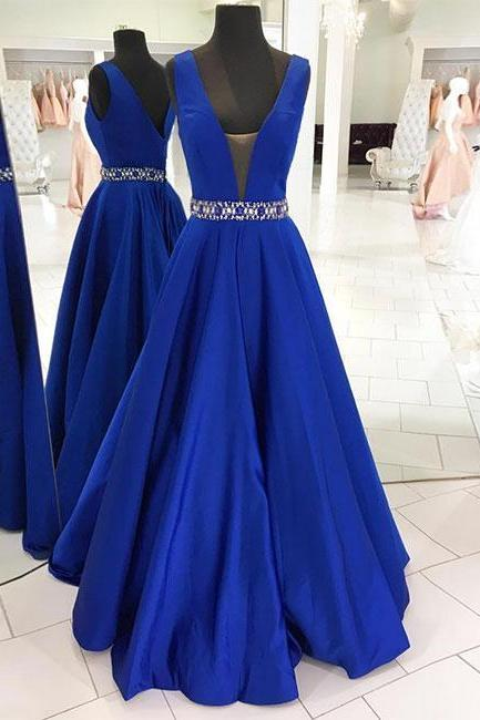 High Fashion A-Line Deep V-Neck Dark Blue Long Prom Dress with Beading,Cheap Formal Dresses, Cheap Evening Dresses,Sexy Prom Dresses,Evening Dress