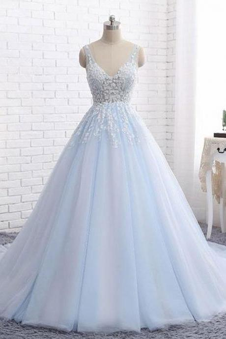 Elegant Ball Gown Wedding Dress,V-Neck Blue Tulle Wedding Dresses,Long Bridal Dress with Appliques,Cheap Bridal Dresses,Sexy Wedding Dresses,Evening Dress