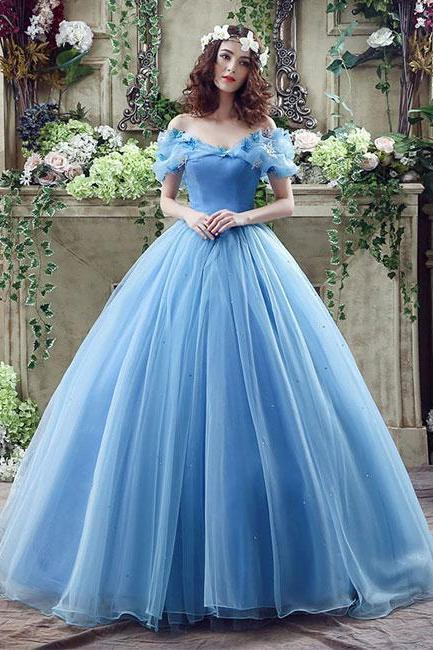 Elegant Off Shoulder Blue Tulle Long Prom/Evening Dress with Appliques,Cheap Formal Dresses, Cheap Evening Dresses,Sexy Prom Dresses,Evening Dress