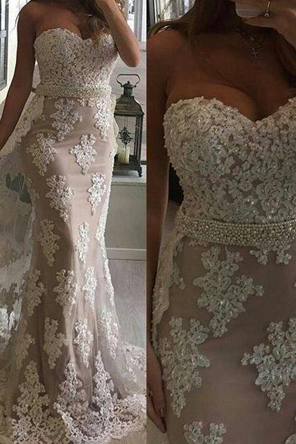 Glamorous Mermaid Sweetheart Lace Long Prom/Evening Dress with Ruffles,Cheap Evening Dresses,Sexy Prom Dresses,Evening Dress
