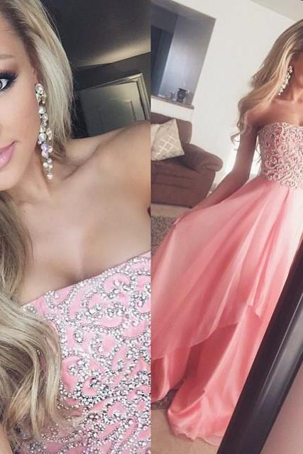 Pink Strapless Prom Dress, Beading Long Prom Dress, Handsome Stain Evening Dress ,Cheap Formal Dresses, Cheap Evening Dresses,Sexy Prom Dresses,Evening Dress