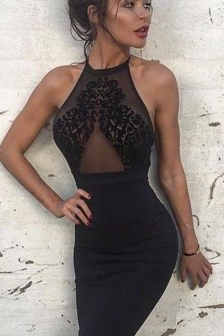 Black Long Prom Dress, Sexy Lace Prom Dress, Halter Sheath Prom Dress,Cheap Formal Dresses, Cheap Evening Dresses,Sexy Prom Dresses,Evening Dress