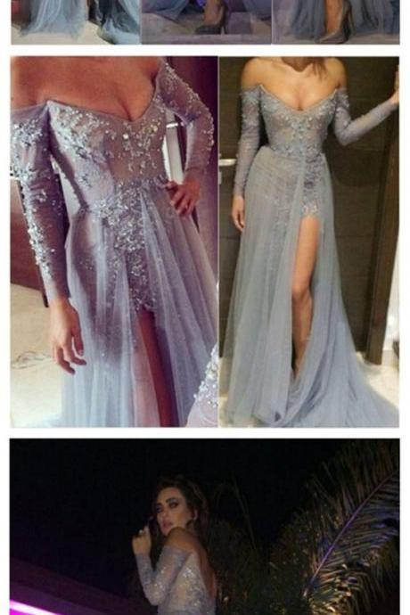 Long Gray Lace Off Shoulder Prom Dress,V-neck Side Slit Sexy Popular Prom Dresses ,Evening Occasion Dresses,Cheap Formal Dresses, Cheap Evening Dresses,Sexy Prom Dresses,Evening Dress