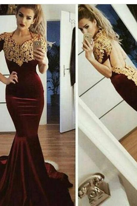 Gold Lace Appliques Prom Dress, Velvet Mermaid Evening Dress, Backless Long Prom Dress,Cheap Formal Dresses, Cheap Evening Dresses,Sexy Prom Dresses,Evening Dress
