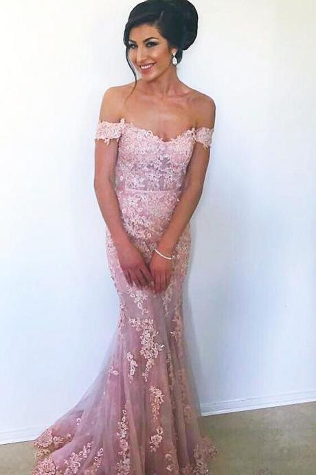 Elegant Off Shoulder Prom Dress, Lace Mermaid Formal Evening Dress, Charming Pink Long Party Dress,Cheap Formal Dresses, Cheap Evening Dresses,Sexy Prom Dresses,Evening Dress
