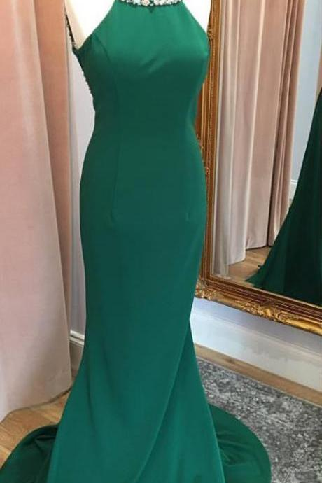 Prom Dresses,Mermaid Prom Dresses,Green Jersey Prom Dresses,Long Party Dresses,Mermaid Evening Dresses,Backless Formal Gowns