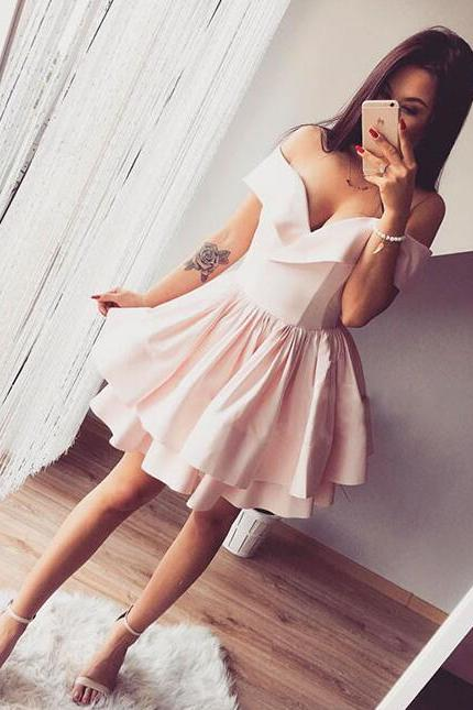 Pink Short Homecoming Dresses,Homecoming Dress,Off Shoulder Homecoming Dress,Pink Cute Prom Dresses,Cheap Evening Dresses,Sexy Prom Dresses,Evening Dress