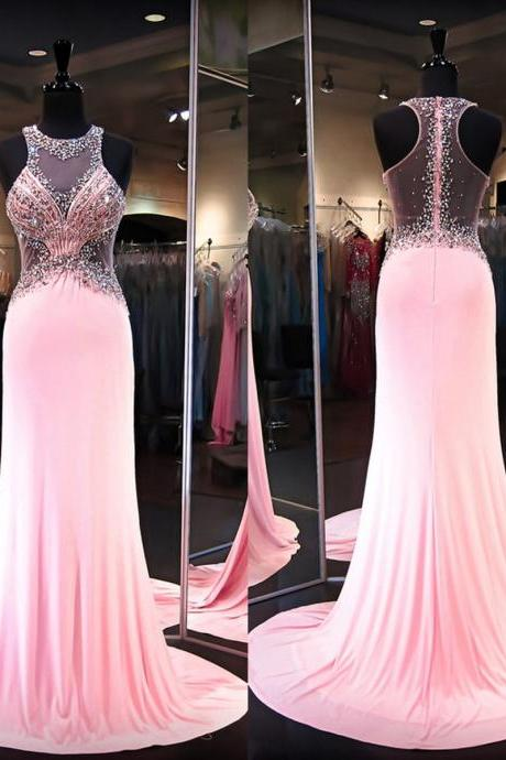 Long Pink Prom Dresses,Long Formal Gowns for Women,See Through Back Prom Dresses,Long Sexy Women Formal Gowns,Beaded Long Party Dress