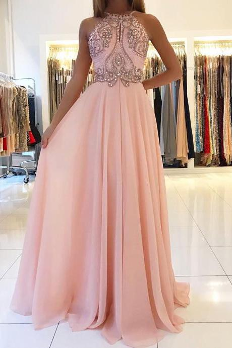Pink Chiffon A-line Prom Dresses Long Backless Evening Dresses Formal Gowns Beaded Party Dresses for Women