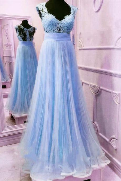 Blue Tulle V Neck Prom Dresses Long A-line Evening Dresses Appliques Formal Gowns Sexy Graduation Party Dresses,Cheap Evening Dresses,Sexy Prom Dresses,Evening Dress
