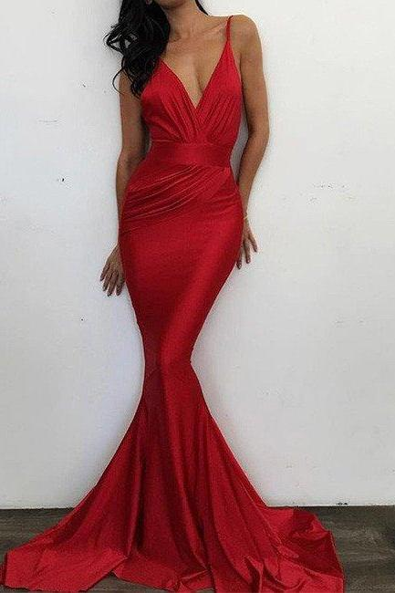 V Neck Evening Dresses, Elegant Formal Gowns, Spaghetti Straps Party Pageant Dresses,Cheap Evening Dresses,Sexy Prom Dresses,Evening Dress
