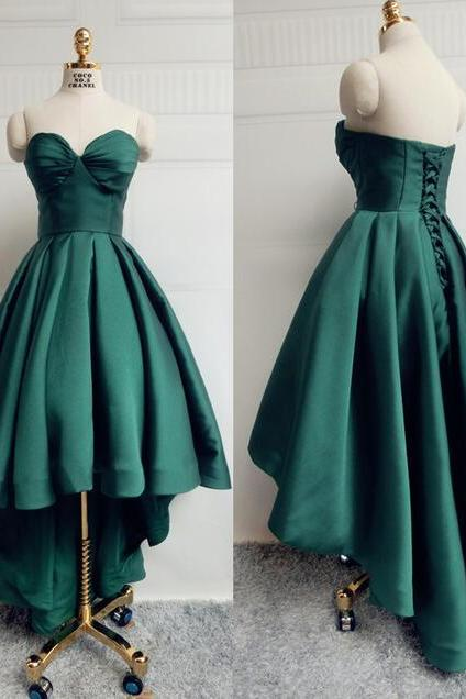 Green Satin Prom Dresses,Sweetheart Cheap A-line Evening Dresses ,Sleeveless Hi-lo Formal Gowns, Backless Party Pageant Dresses for Teens,Cheap Evening Dresses,Sexy Prom Dresses,Evening Dress