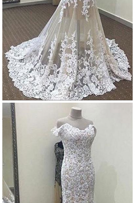 White Mermaid Off-the-shoulder Wedding Dresses, Long Lace Bridal Dress,Long Wedding Dress