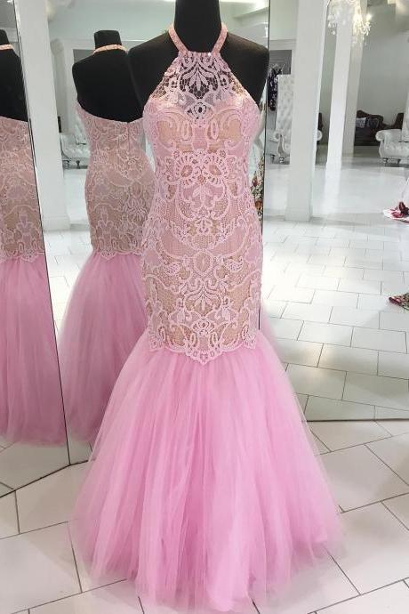 Gorgeous Halter Mermaid Long Pink Prom Dress with Open Back,Sexy Beaded Party Dress,Long Evening Dress