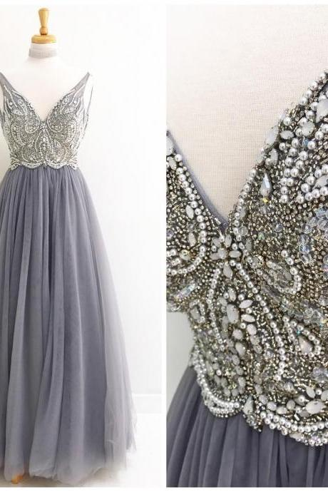 V-neck Long Grey Tulle Prom Dresses Crystals Beaded Women Party Dresses,Long Evening Dress
