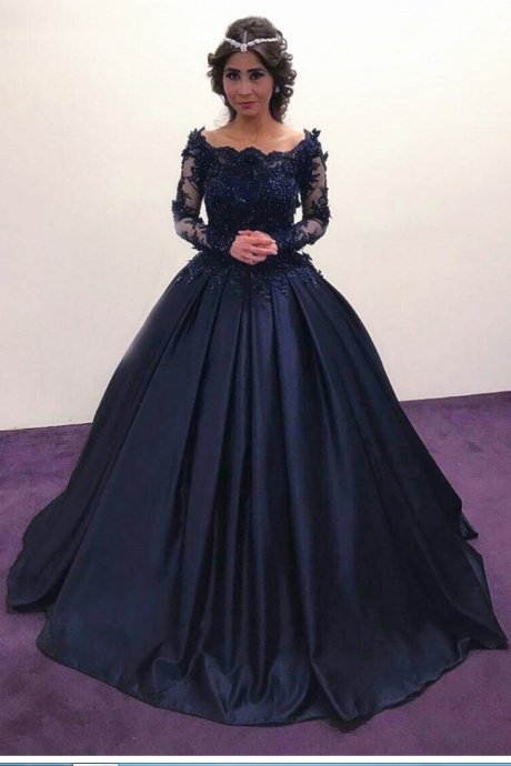 Navy Blue Prom Dresses,Long Sleeves Prom Dresses,Long Sleeves Engagement Dress,Vintage Wedding Dresses,Long Evening Dress