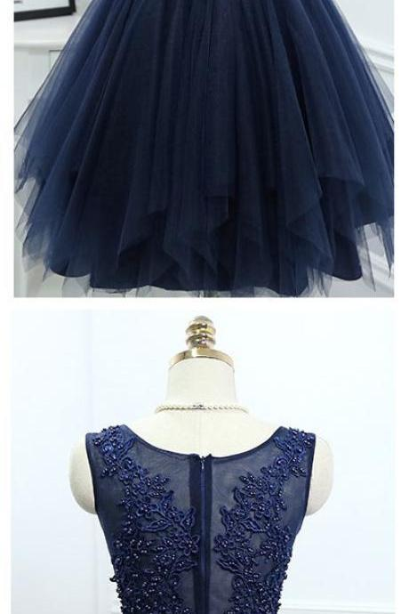 Short Homecoming Dresses,Applique Homecoming Dress,Charming Party Dress,Navy Blue Tulle Prom Dresses,Elegant Prom Dress,Beaded Prom Gown