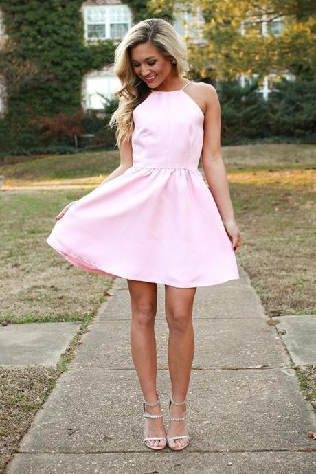 pink homecoming dresses,short homecoming dresses,satin homecoming dresses,Sexy Party Dress,Custom Made Evening Dress