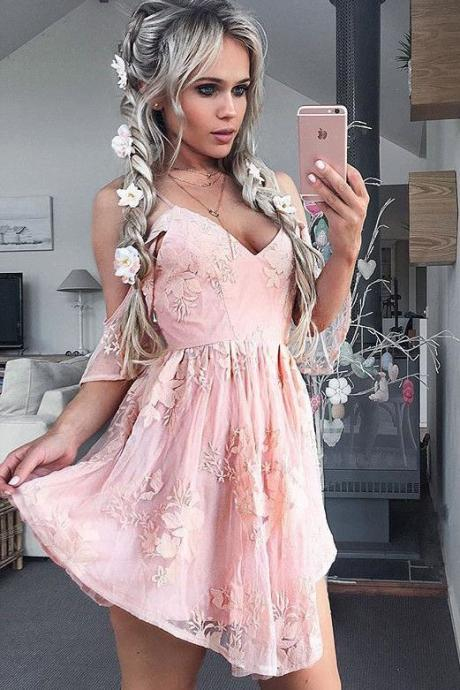 Homecoming Dresses,Lace Homecoming Gowns,Short Prom Gown,Pink Sweet 16 Dress,Homecoming Dress,A Line Prom Dress,Short Prom Dress,Fashion Homecoming Dress,Sexy Party Dress,Custom Made Evening Dress
