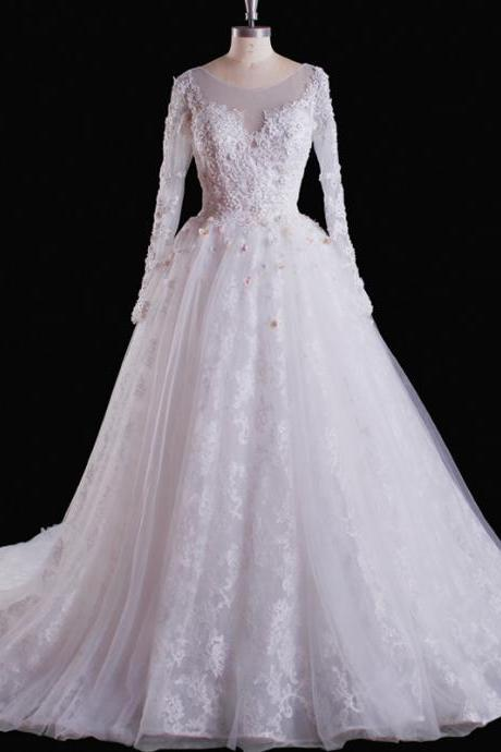 Wedding Dresses,Wedding Gown,Bridal Gown,Bride Dresses, Long Wedding Dresses, Ball Gown Wedding Dress,Lace Wedding Dress,Princess Wedding Gown,Long Sleeves Wedding Dress,White Wedding Gowns,Appliqued Bridal Dresses,Customized Made Wedding Dress