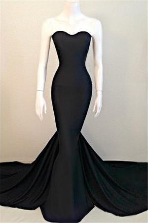 Sexy Mermaid Black Sweetheart Evening Dress Sleeveless Sweep Train Prom Dresses Party Gowns