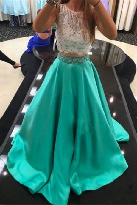Green Two Pieces Beading Prom Dresses,Long A-line Prom Dresses For Teens,Satin Party Dresses,Lace Evening Dresses,Cute Dresses
