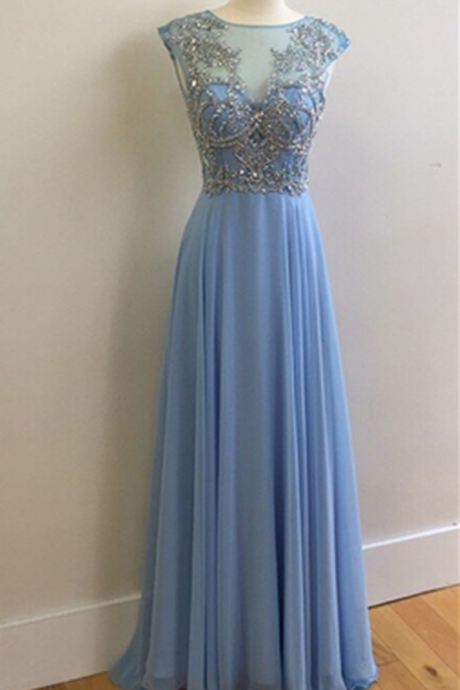 Prom Dress,Long Party Dress,O Neck Prom Dress,Blue Chiffon Prom Dress,A-line Prom Dress,Beading Prom Dress,Long Formal Dresses,Cheap Prom Dress,Prom Dresses Long Sexy,Prom Dresses Plus Size,Cap Sleeve Prom Dress,Elegant Prom Dress,Long Pageant Dress