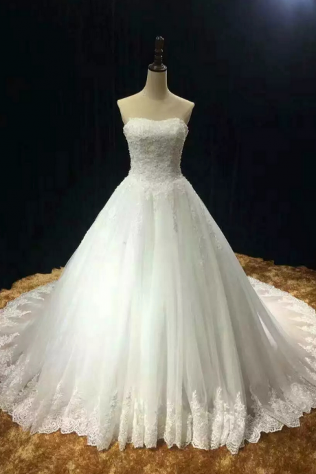 Chapel train soft wedding dresses tulle lace appliques strapless wedding dress real photo vestido noiva prince with pearls free custom-made ,Prom Dresses, long evening dresses, party dresses
