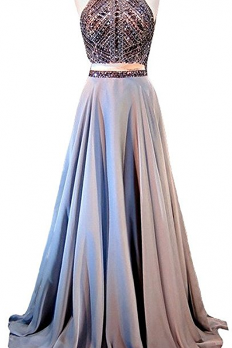Halter Crystals Sequins Beaded Open Back Two Pieces Long Prom Dress,Prom Dresses, long evening dresses, party dresses