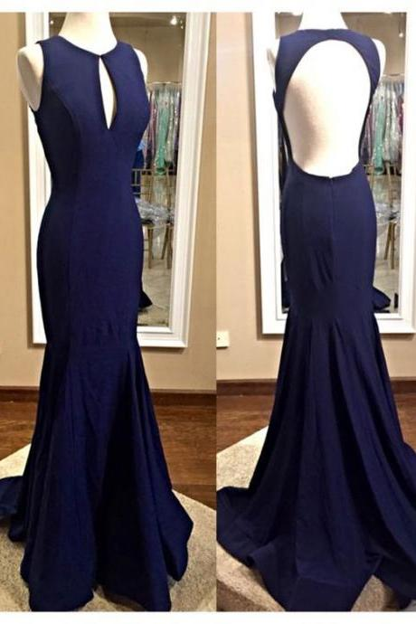 Navy Blue Prom Dress,Scoop Prom Dress,mermaid Party Dress ,Mermaid Prom Dress,Custom Prom Dresses ,Evening dresses, Prom Dresses,Long Prom Dress, long evening dresses, party dresses
